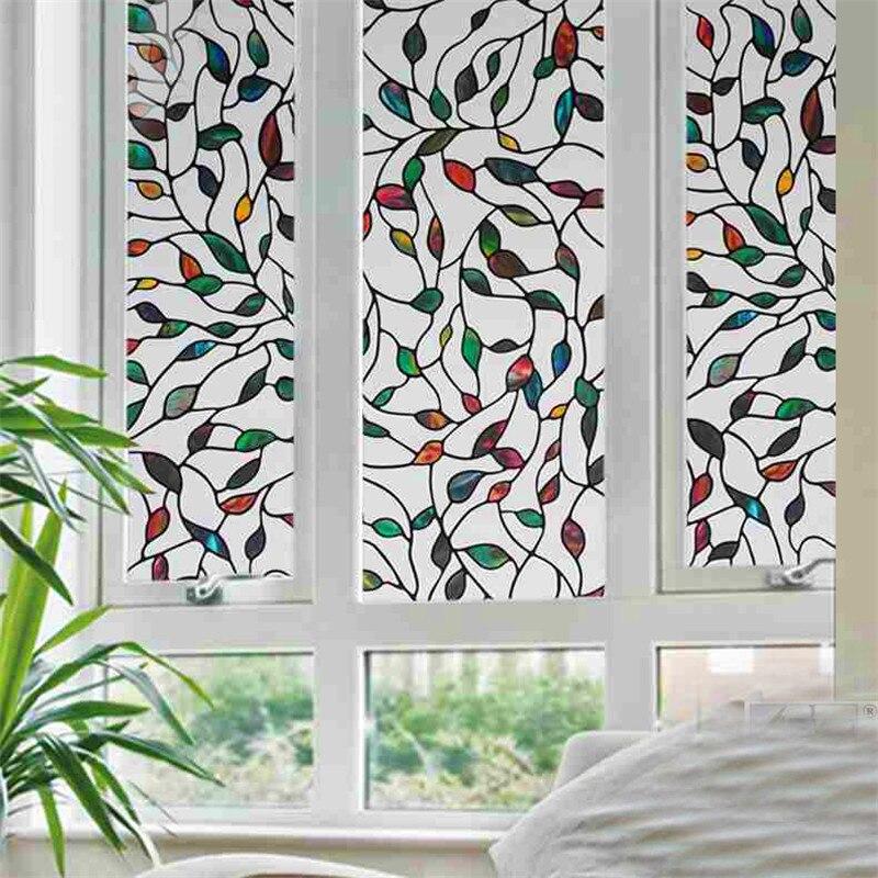 ¡Novedad de 2020! Película de vidrio decorativa con adherente estático de hojas de colores, película de privacidad teñida, pegatinas texturizadas para ventana de longitud de 300cm