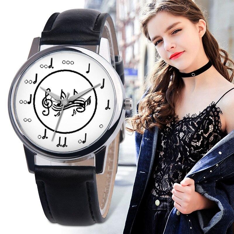 Ladies Designer Watches Luxury Watch Women 2019 Fancy Unisex Musical Note Leather Band Analog Alloy Quartz Watch Clock