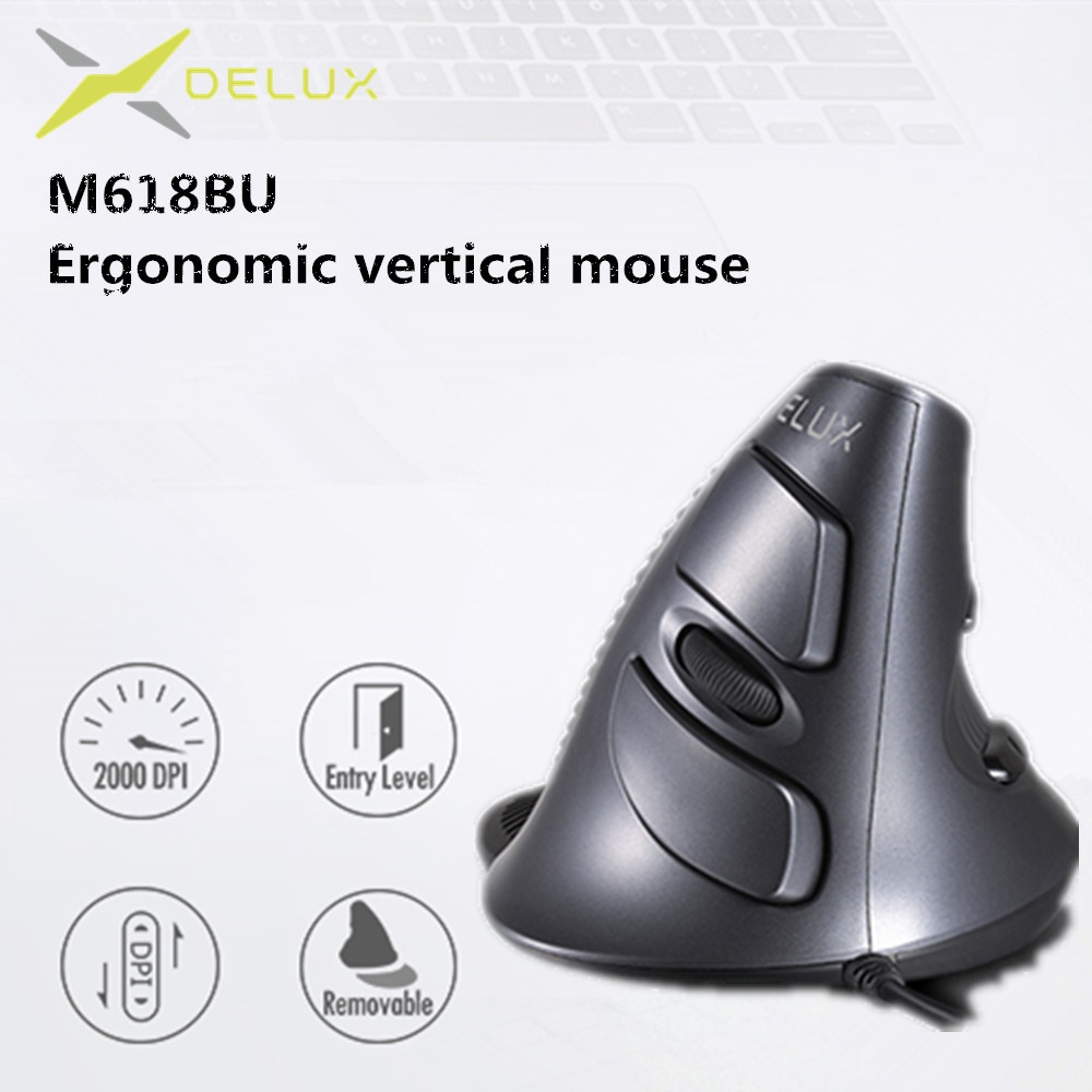 AliExpress - Delux M618 BU Ergonomic Vertical Mouse 6 Buttons 800/1200/1600 DPI Optical Right Hand Mice with Wrist mat For PC Laptop