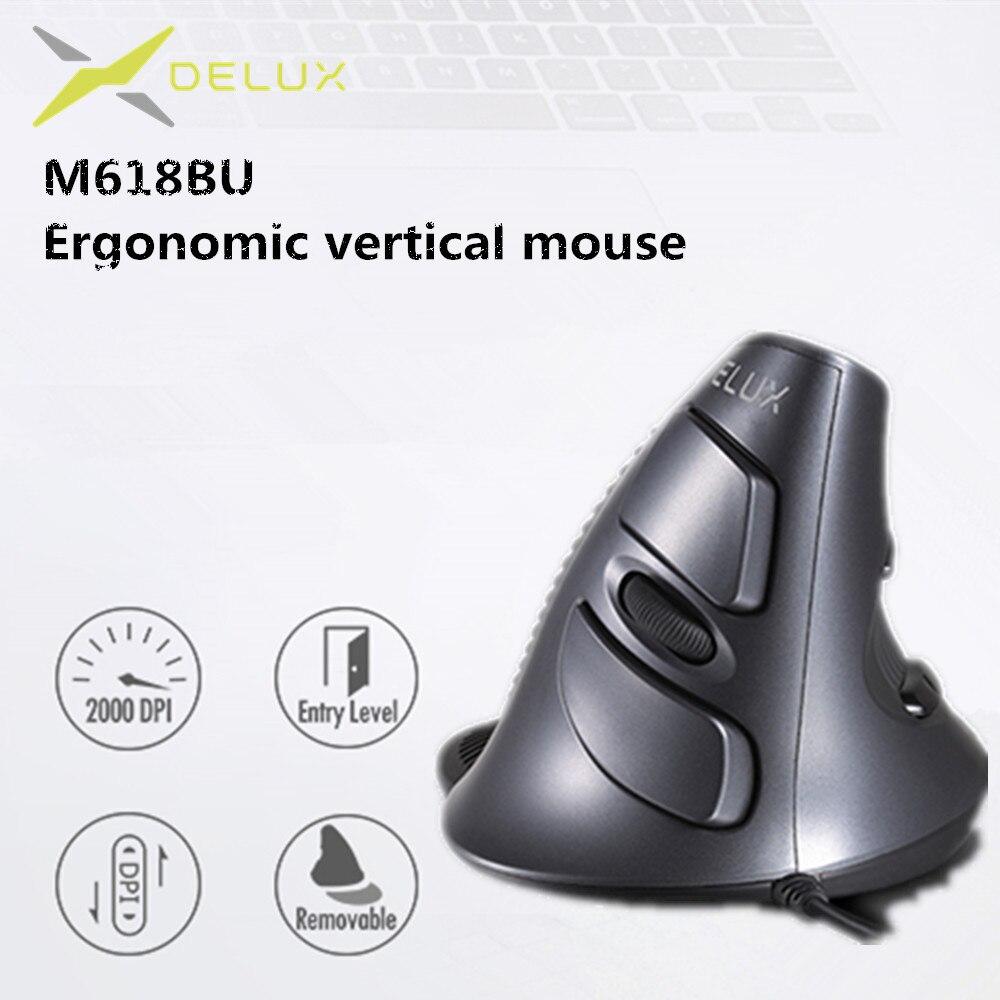 Delux M618 BU эргономичная Вертикальная мышь, 6 кнопок, 600/1000/1600 DPI, оптическая правая мышь с ковриком на запястье для ПК ноутбука