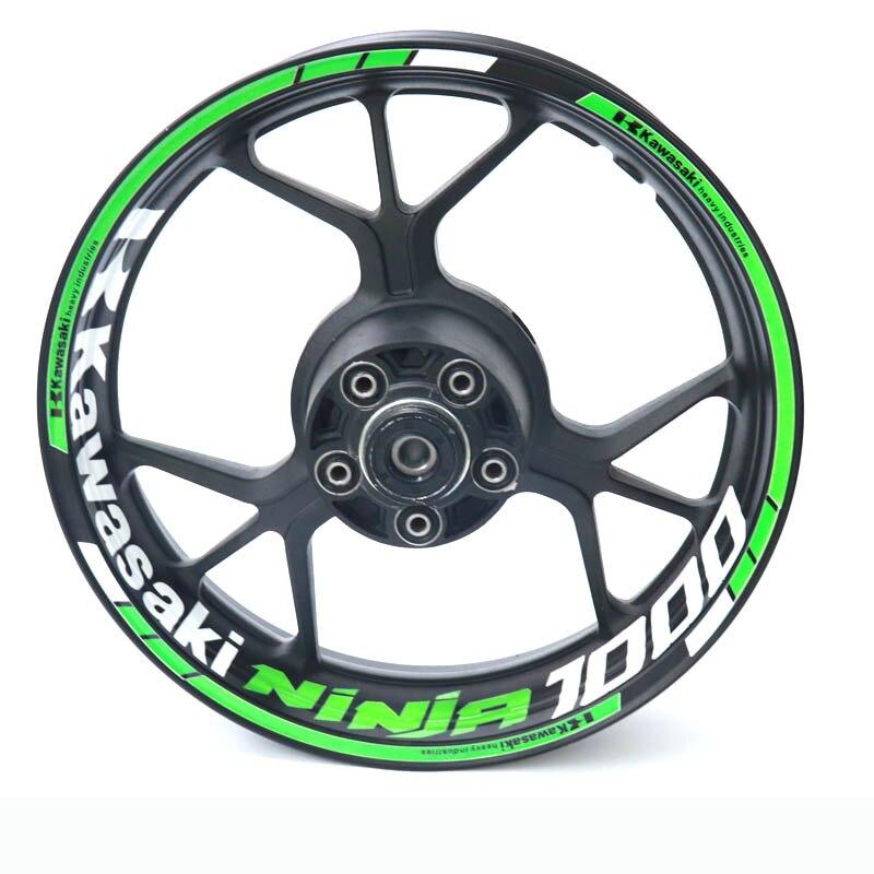 New high quality  Fit Motorcycle Wheel Sticker stripe Reflective Rim For Kawasaki ninja 100 ninja1000