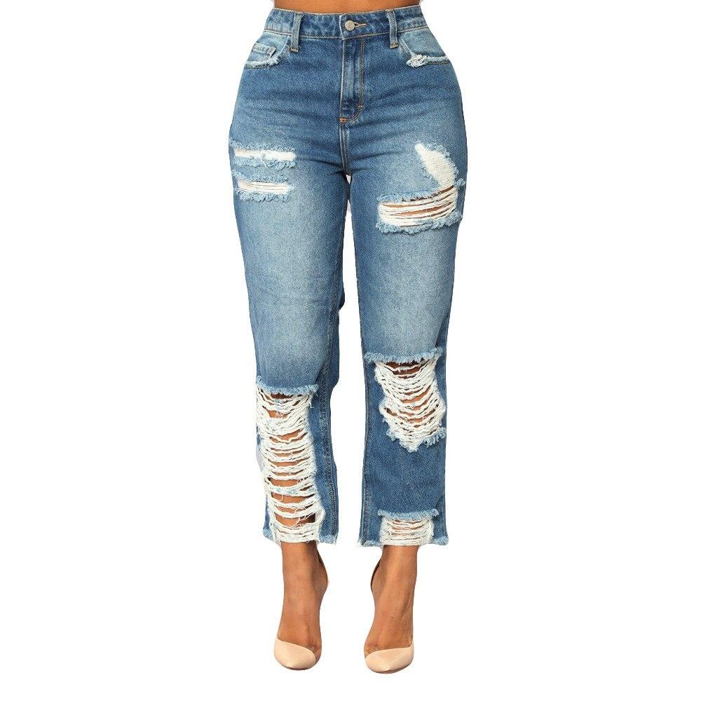 Jaycosin roupas femininas calças de brim cintura alta buraco magro denim estiramento magro panturrilha comprimento da moda