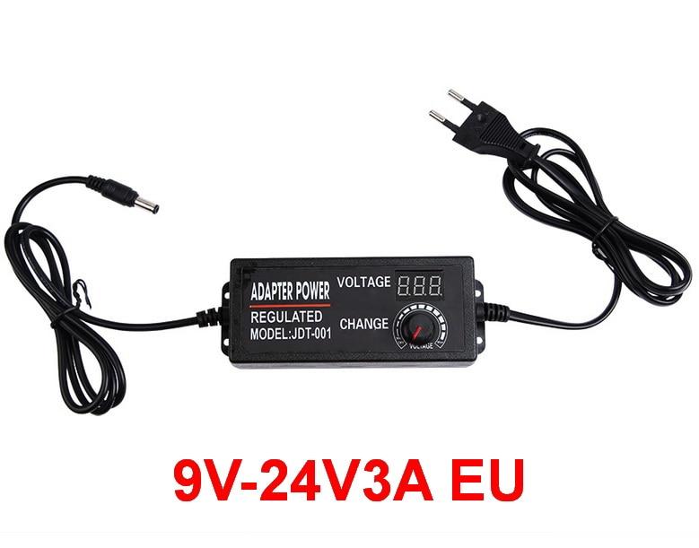 1PCS Adjustable Power Supply 9V 10V 12V 14V 15V 16V 17V 18V 19V 20V 21V 22V 24V 3A 3000mA AC/DC Power Adapter with display EU US