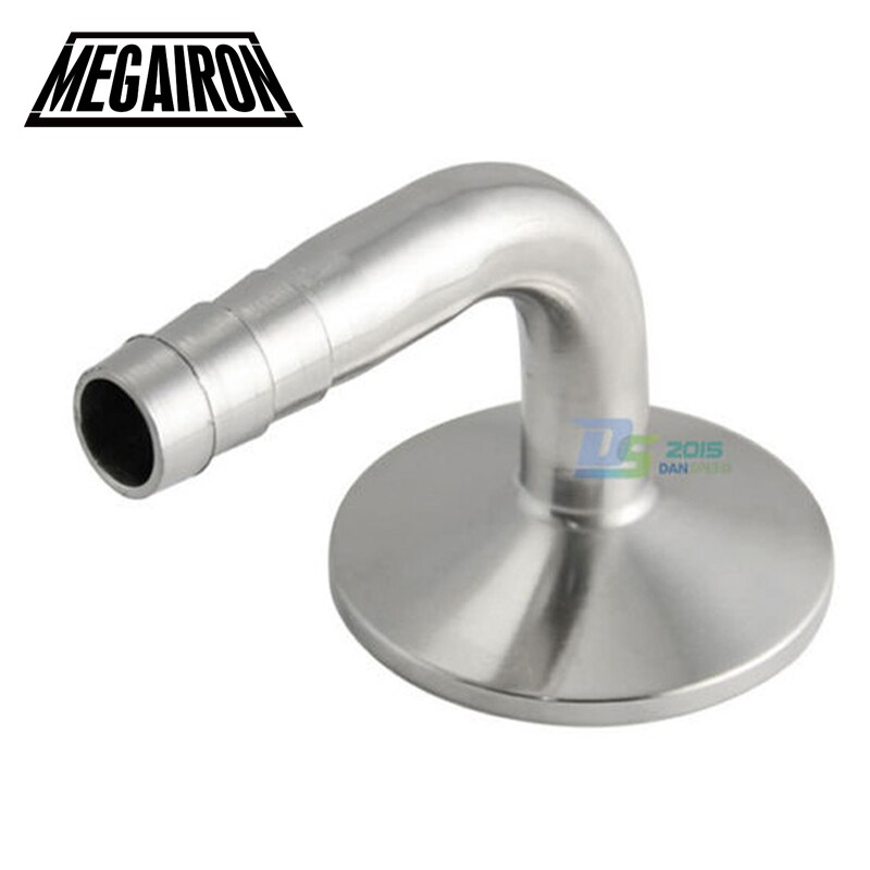 "MEGAIRON 3/4 ""OD 19mm sanitarias espiga para manguera con codo de 90 grados puntera para OD 50,5mm SS316 Fit 1,5"" Abrazadera de tubería"