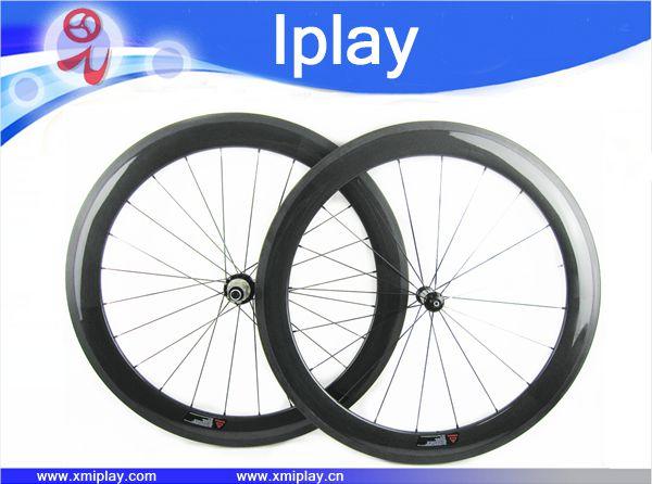 2017 IPLAY 700C bicicleta de carretera 60mm cubiertas de carbono Powerway R13 hub ruedas de bicicleta de carretera juego de ruedas de carbono chino ruedas de carbono