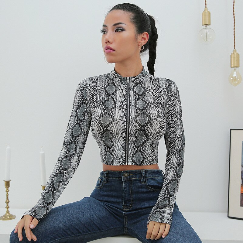 Camiseta con estampado de serpiente Hiawatha, Camiseta corta sexi de manga larga para mujer, Camiseta corta elegante informal C3231W09