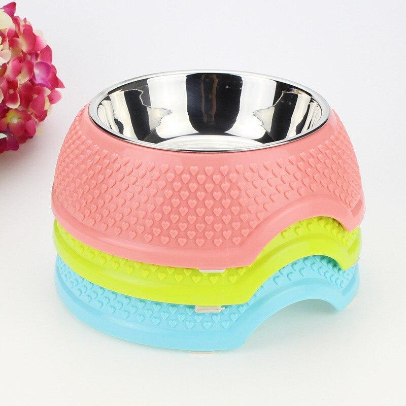 Bol pour animaux de compagnie avec impression en forme de cœur   Coque en plastique antidérapante bol pour animaux de compagnie en acier inoxydable de haute qualité