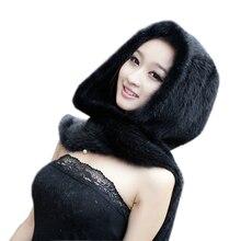 2019 nueva bufanda de piel de visón Real bufandas de lujo de las mujeres invierno hecho a mano de punto Piel de visón natural sombrero bufanda Mujer