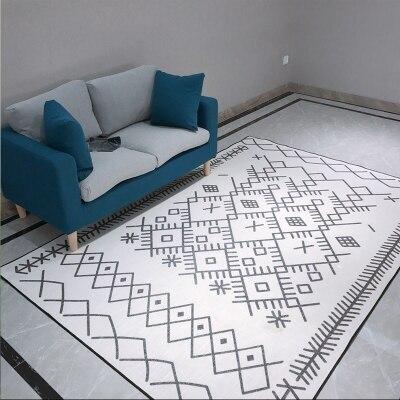 سجادة هندسية حديثة مخططة بالأبيض والأسود ، سجادة مستطيلة ناعمة غير قابلة للانزلاق لغرفة النوم أو غرفة المعيشة أو الأريكة