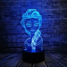 Светодиодная 3d-лампа с героями мультфильмов, с USB, многоцветная, меняющая настроение, RGB, ночник, настольная, для красивых девушек, подарок