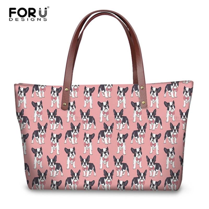FORUDESIGNS Cute Women Pink Handbags Animal Classy Boston Terrier Print Ladies Travel Shoulder Bags College Large Capacity Bags