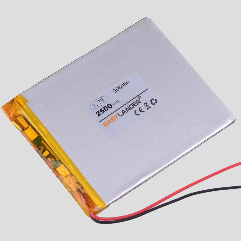 Batería recargable de iones de litio de polímero de 306080 V, 3,7 mAh para control remoto, batería portátil para teléfono E-book 2500