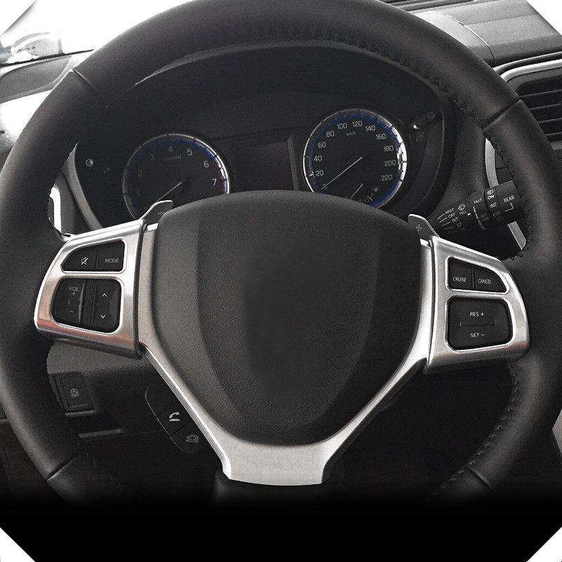 Fit for Suzuki SX4 S-Cross 2014 - 2019 Car Styling ABS Matte Steering Wheel Button Decorative Cover Trim 2pcs Auto Accessories