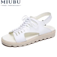 miubu women sandals shoes flats genuine leather lace up peep toe ladies low heels sandals summer shoes gladiator sandals beach