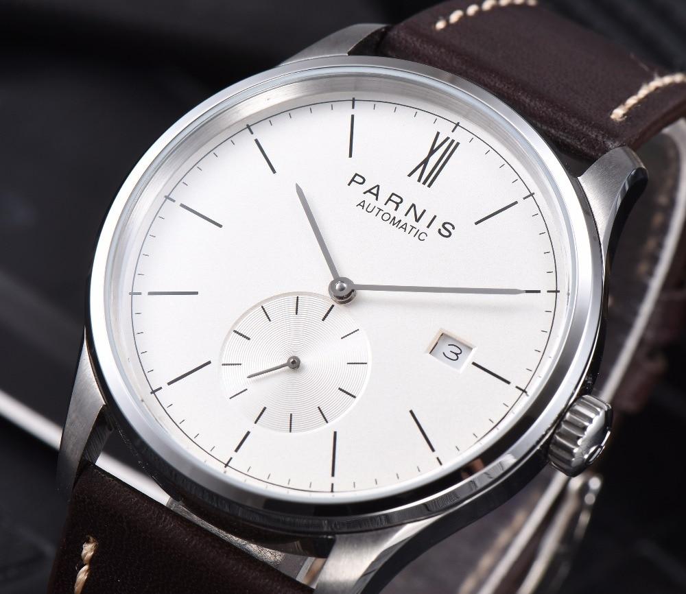 Parnis-ساعة ميكانيكية بسيطة للرجال ، ساعة يد رجالية ، أوتوماتيكية ، التاريخ ، مقاومة للماء ، 41.5 مللي متر ، zegarek 2020 مع علبة