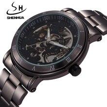 New Fashion Skeleton Black Steel Men Male Clock Shenhua Brand Hollow Cool Stylish Design Classic Mec