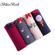 BllooBeell 4 pièces nouvelles femmes sous-vêtements en coton Design frais fille doux mignon slips mi-hauteur Sexy femmes culottes Lingerie de tous les jours