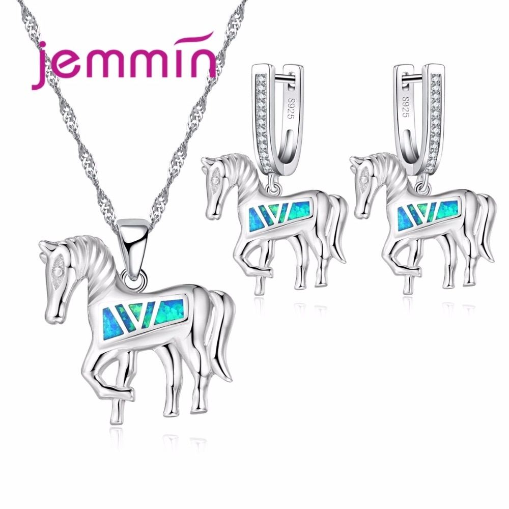 Prata 925 sterling animal cavalo feminino festa colar brincos conjunto fino azul fogo opala conjuntos de jóias para o presente aniversário
