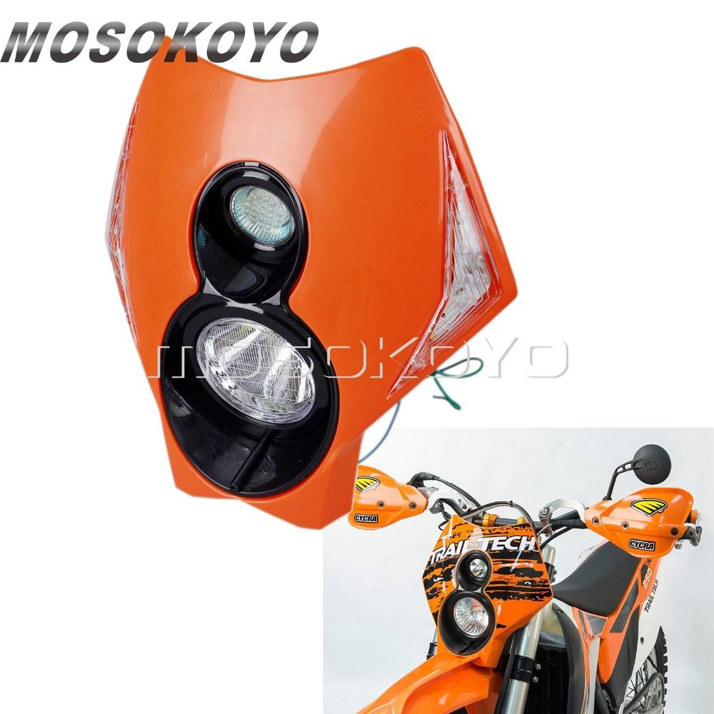 Оранжевая мотоциклетная фара для мотокросса Dirt Bike Twin X2 Светодиодный индикатор для KTM EXC XC-F 250 450 350 Supermoto налобный фонарь