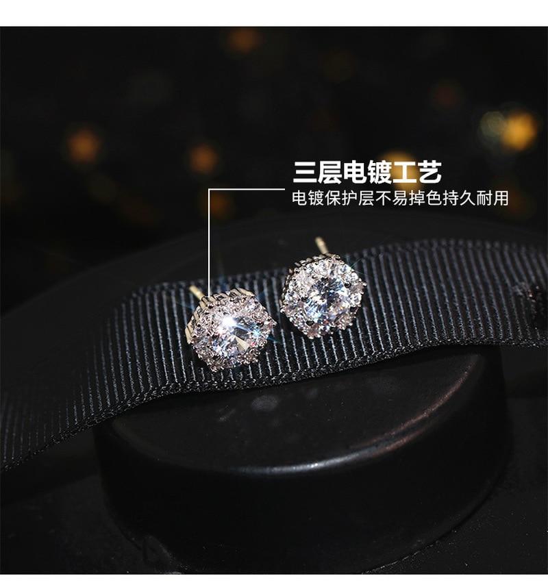 S925 sterling silver warna sederhana bulat bling zirkon batu anting - Perhiasan fesyen - Foto 2