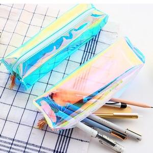 New Laser Transparent Glitter Pencil Case Stationery Bag Creative Fashion Pvc Pencil Bag School Pencil Box Supplies Student Gift