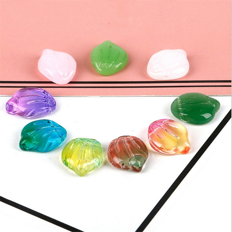 10pcs/lot 15MM glass flower beads charms petal pendant connectors for jewelry making diy handmade earring accessories material