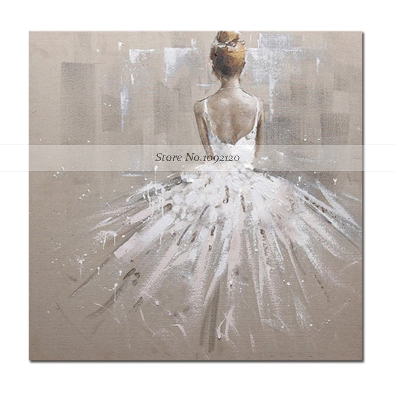 2018 New Handmade Protrait Living Room Home Decor White Dress Girl Modern Impression Oil Painting On Canvas Wall Decor Artwork