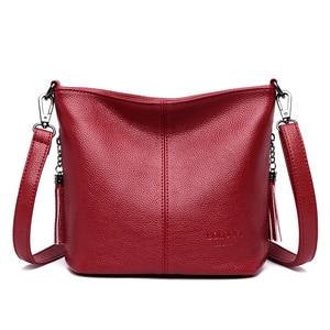 Hot Sale Tassel Bags For Women Shoulder CrossBody Bags Women's Genuine Leather Handbags Bucket Women Messenger Bags