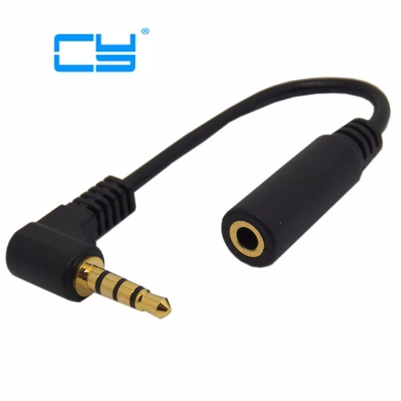10cm 90 grados ángulo recto 4 polos TRRS 3,5mm Aux Audio Cable extensor adaptador M/F 3,5mm para PC o Mic-auricular envío gratis