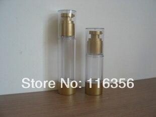 Botella de bomba sin aire de oro de 30 ml o botella de loción o botella de esencia