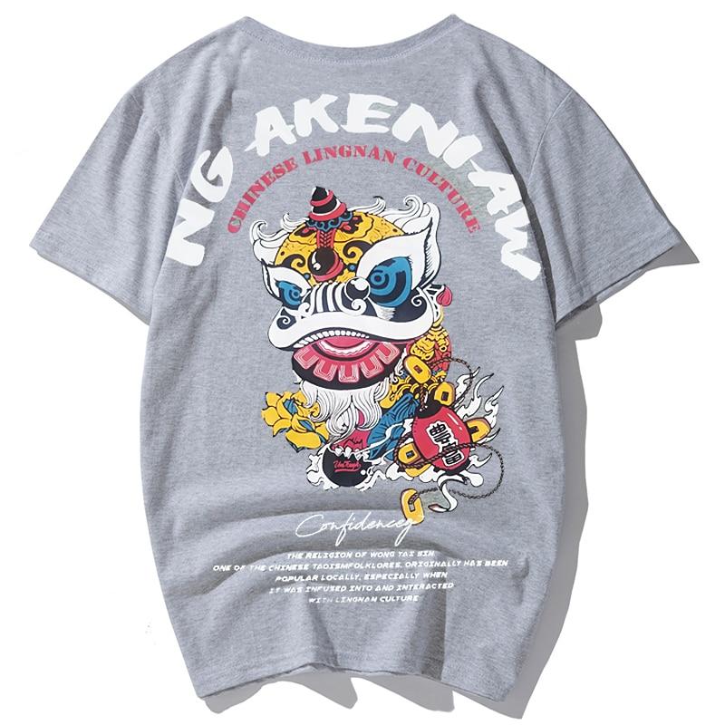 summer big men casual Tees plus size 2XL-4xl 6xl 7xl 8XL cotton t shirts Casual round neck collar shirt hiphop 155 cm print lion