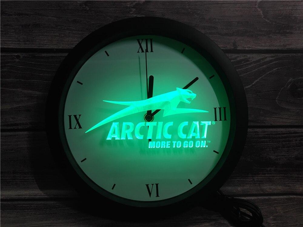 0G129 gato Ártico motos de nieve Logo APP RGB 5050 signos de luz de neón LED Reloj de pared