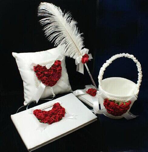 Envío Gratis, Juego de 4 piezas rojo y blanco satén Rosa corazón boda libro de invitados anillo almohada flor cesta pluma juego de soporte para bolígrafos