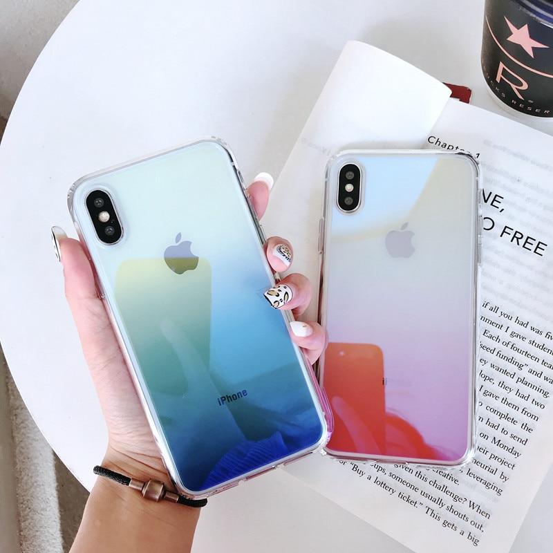 Gradient Farbe Fall Für iPhone 11 Pro Max 11 Pro 11 Luxus Blau Ray Aurora Acryl Fall Für iPhone XS max XR XS X 7 8 Plus Abdeckung