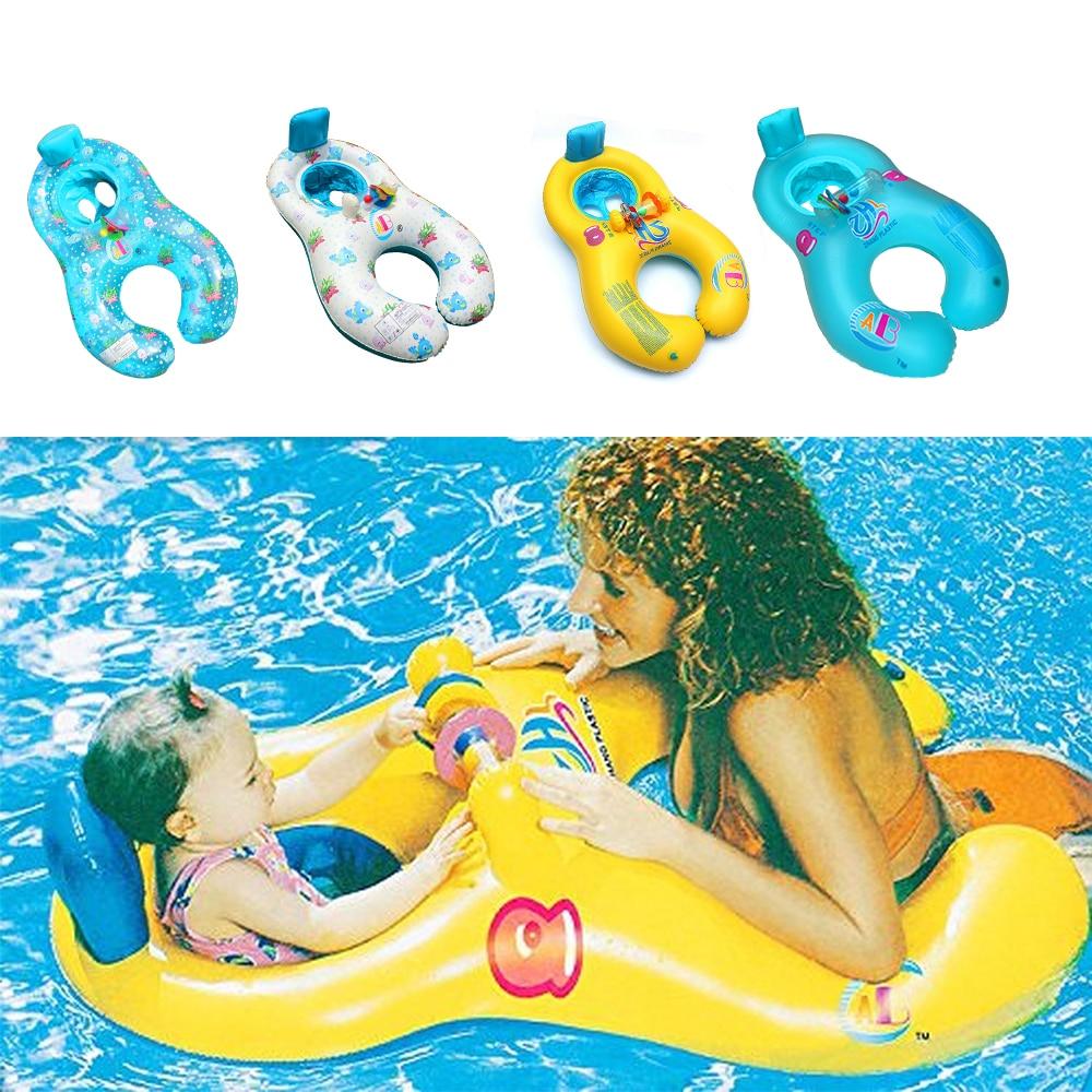 Mãe criança anel inflável natação círculo bebê float duplo piscina acessórios rodas infláveis swimtrainer círculos