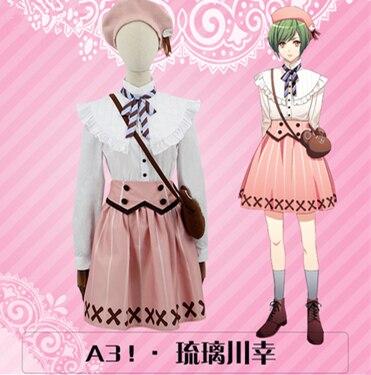 ¡Anime japonés caliente A3! actor adicto a la acción Rurikawa Yuki mujer Cosplay disfraz Camisa + falda + cinturón + corbata + sombrero + bolsa + scoks