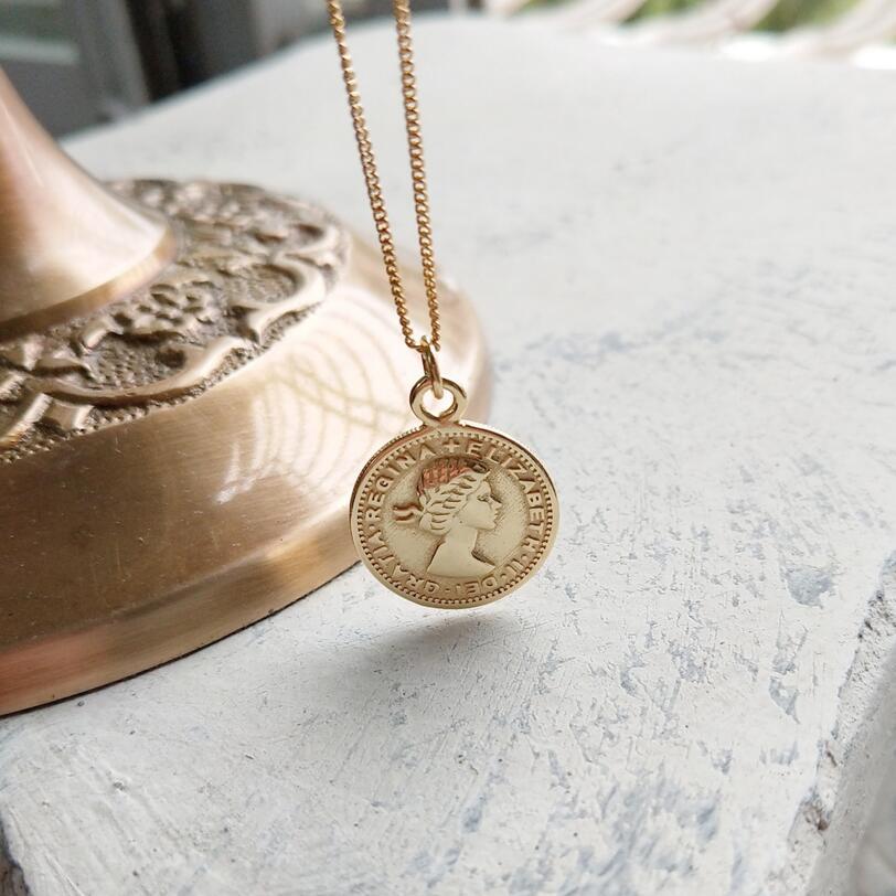 925 Flor de Oro de plata esterlina con seis peniques colgantes moneda collar de moda OL diseño Collar para mujeres encantos joyería de plata
