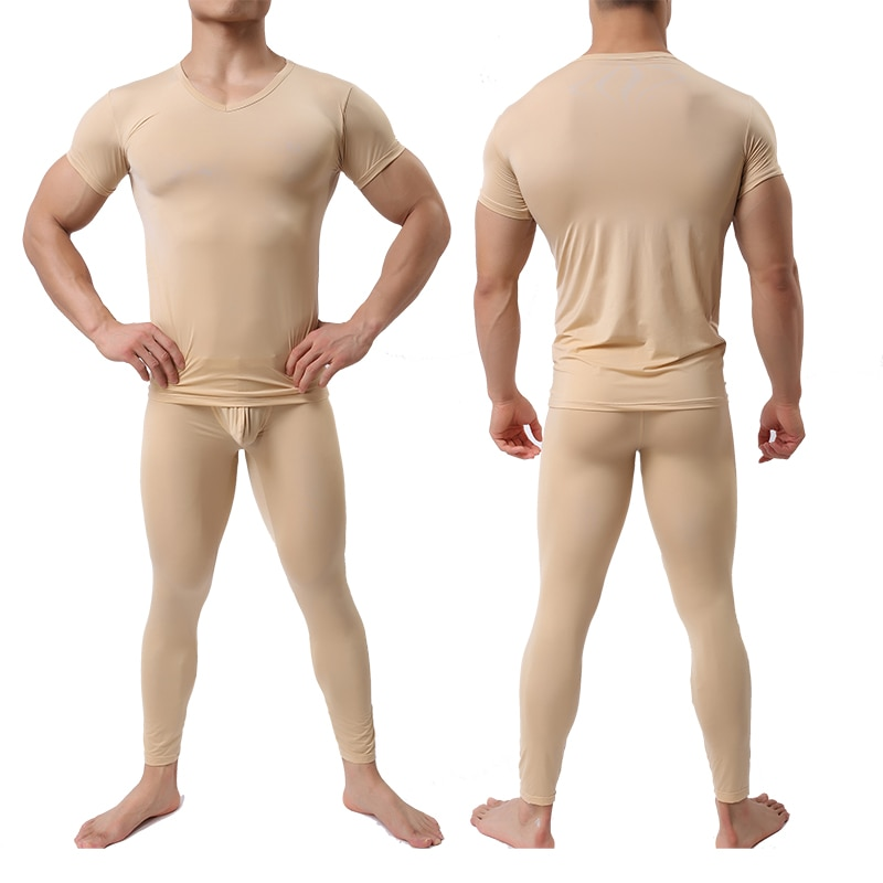 Camiseta masculina conjunto de calças ultra-fino legal elastano roupa interior do sono térmico camisa & conjunto de calças