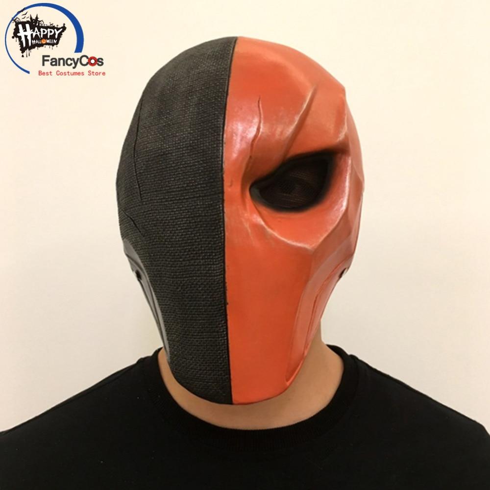 Fancycos liga da justiça máscara deathstroke slade joseph wilson terminator máscara cosplay capacete halloween resina adereços