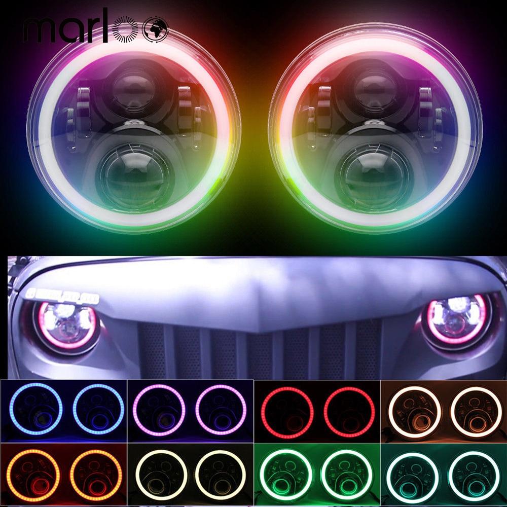RGB Halo 7 pulgadas Led faro-Plug And Play Bluetooth Led Ojos de Ángel faro sellado haz para Jeep Wrangler CJ JK Accesorios