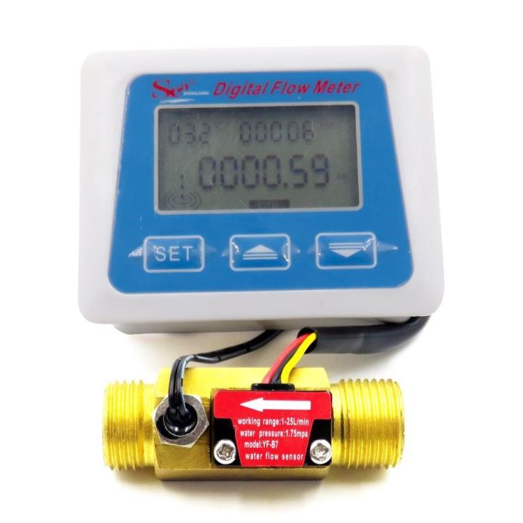 شاشة عرض رقمية LCD ، جهاز استشعار تدفق المياه ، مقياس التدفق ، مقياس كثافة درجة الحرارة ، تسجيل الوقت مع مستشعر التدفق G1/2