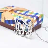 925 solid silver necklace with monogram name personalized monogrammed 3 initial jewelry colar