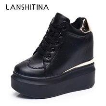 2018 femmes haute plate-forme chaussures automne respirant en cuir chaussures décontractées hauteur augmentant chaussures 12 CM semelle épaisse dames baskets