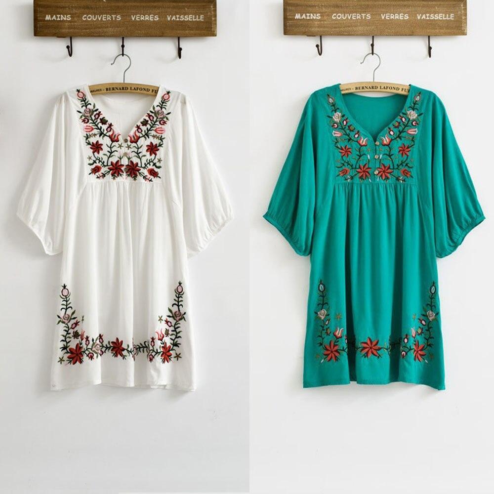 Vintage 70s étnico floral bordado hippie boho mexicano puff slv solto vestido um tamanho xs s m l vestidos elegantes