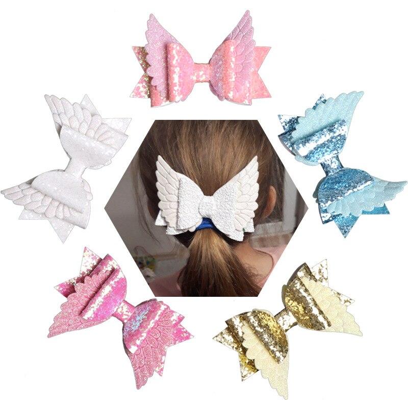 4 angel angel anjo asa princesa hairapers glitter arcos de cabelo com clipe dança festa arco grampo de cabelo meninas hairpin acessórios de cabelo