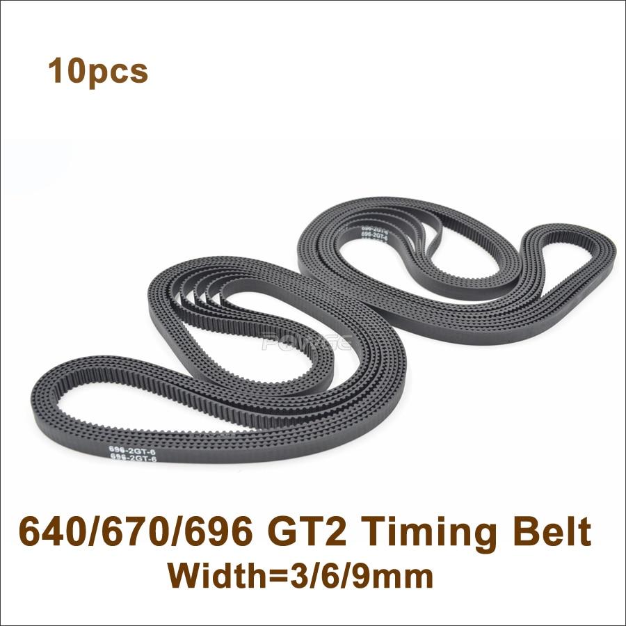 POWGE 10pcs 640/650/660/670/696 2GT Timing Belt W=3/6/9mm Teeth 320/325/330/335/348 GT2 Closed-Loop Synchronous Belt 696-2GT