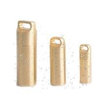 EDC en laiton étanche Capsule conteneur joint bouteille boîte premiers secours pilule réservoir cas Camping équipement