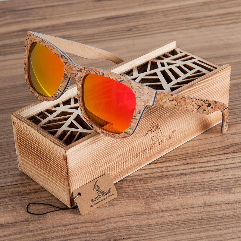 BOBO BIRD-نظارات شمسية مستقطبة من خشب الفلين للرجال والنساء ، نظارات شمسية فاخرة للرجال والنساء ، طراز قديم ، AG021