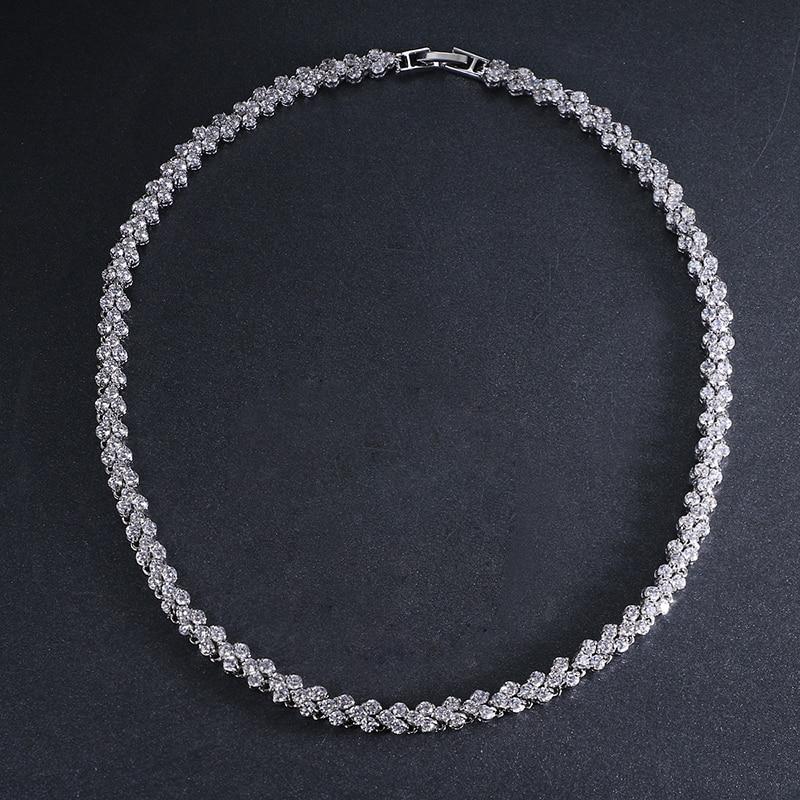 Emmaya Hot Roman Luxury 2.75mm Cubic Zircon Inlay Charm Wedding Choker Necklace for Women Bride Wedding Necklace