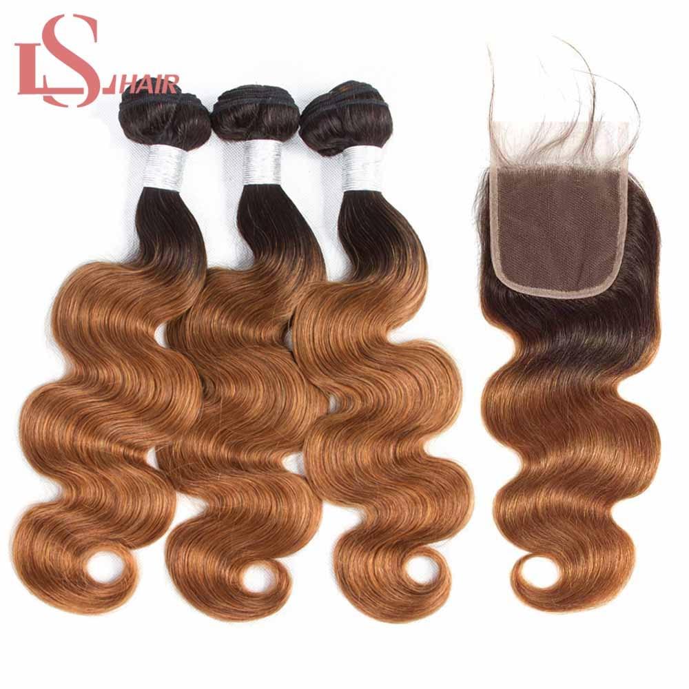 LS Hair-وصلات شعر مموجة طبيعية ، لون أشقر عسلي مظلل 1b/30 ، شعر برازيلي ريمي